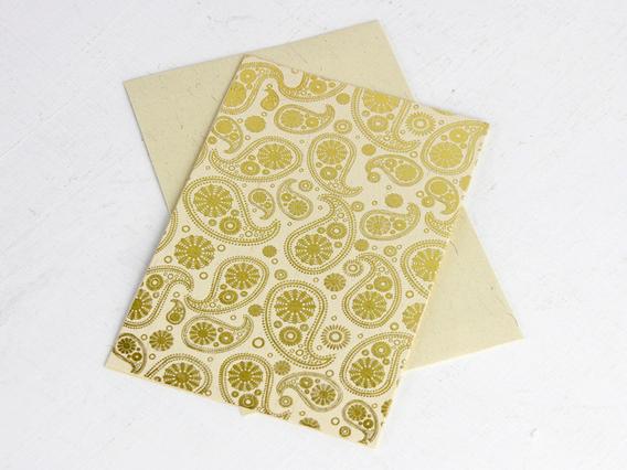 Cream Paisley Printed Card