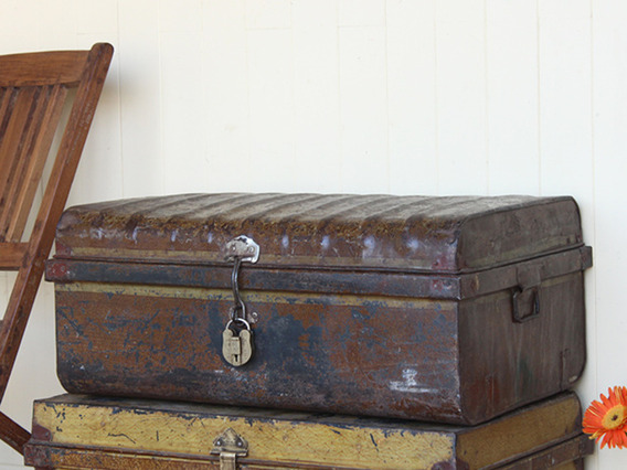 View our  Distressed Metal Chest from the  Old Travel Trunks collection