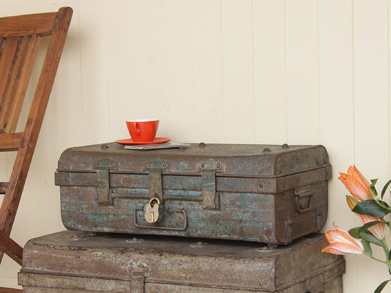 View our  Distressed Metal Indian Vintage Trunk from the   collection