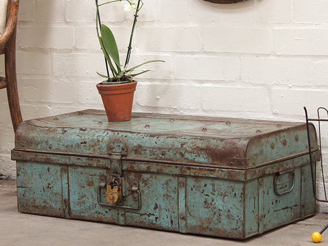View our  Distressed Pale Blue Metal Travel Suitcase  from the   collection
