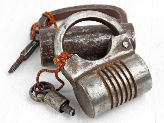 Extra Large Antique Screw Iron Padlock