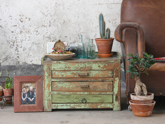 View our  Vintage Side Table from the  Old Wooden Chests, Trunks & Boxes collection