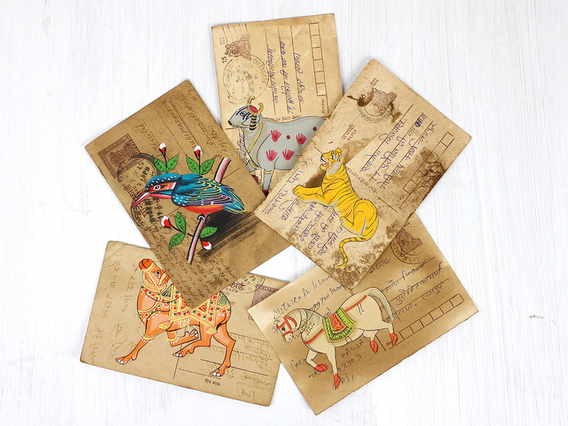 View our  Hand Painted Vintage Indian Postcard - Mix Set of 5 from the  Gift Sets collection