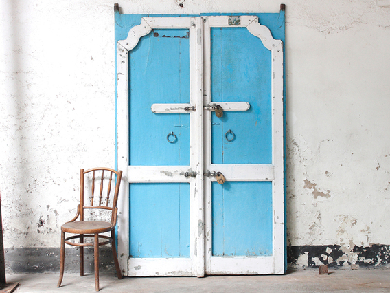 View our  Large Antique Blue Doors from the  Architectural collection