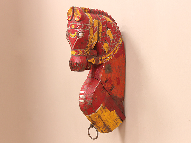 View our  Large Antique Painted Marwari Horse Head from the  Architectural collection