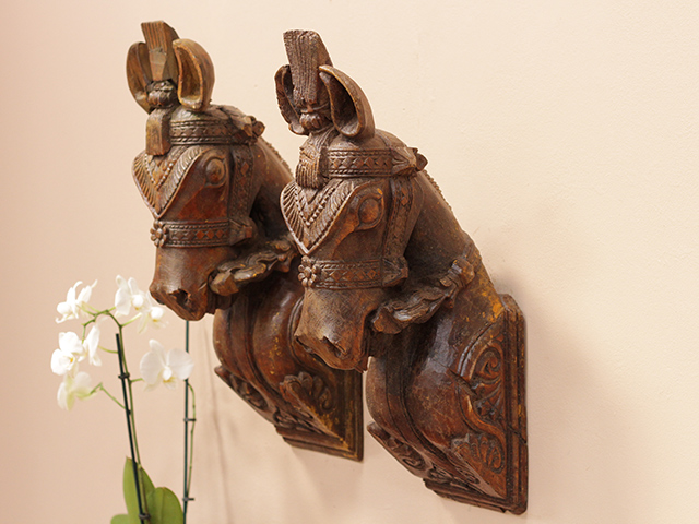 View our  Large Antique Wooden Marwari Horse Heads (Pair) from the  Vintage Wooden Pots collection