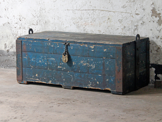 View our  Large Blue Industrial Chest from the  Old Wooden Chests, Trunks & Boxes collection