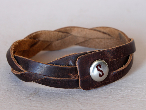 Large Woven Brown Leather Bracelet