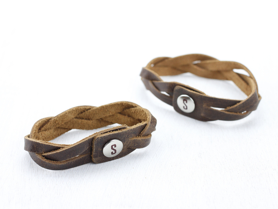 Large Brown Leather Bracelet