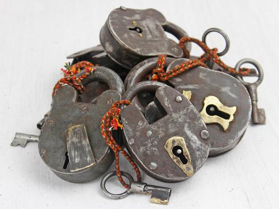 Antique Iron Padlock - Large