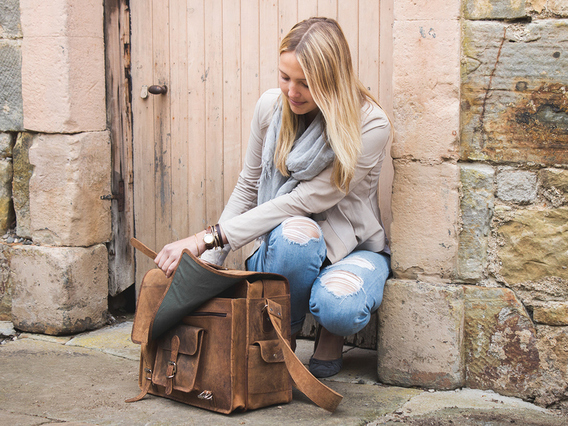 View our Women Large Overlander Leather Bag 18 Inch from the Women Leather Satchel Bags collection