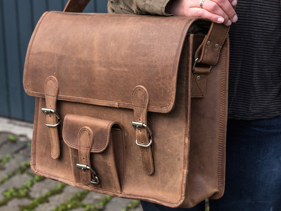 View our  Large Vintage Leather Satchel 16 Inch with Pocket from the  Work Gifts collection