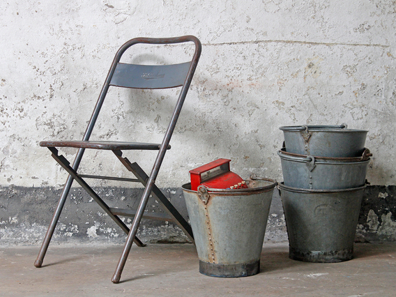 View our  Large Vintage Metal Bucket from the  Old Travel Trunks collection