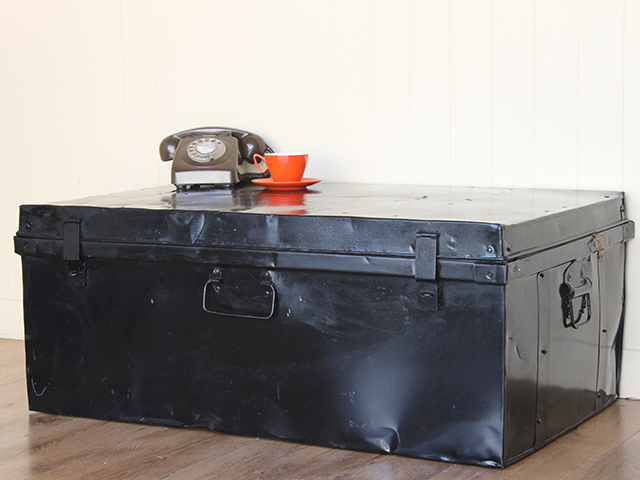 View our  Large Vintage Metal Travel Trunk from the   collection