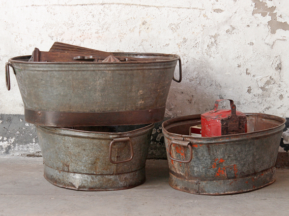 View our  Vintage Tin Bath Tub Planter from the   collection