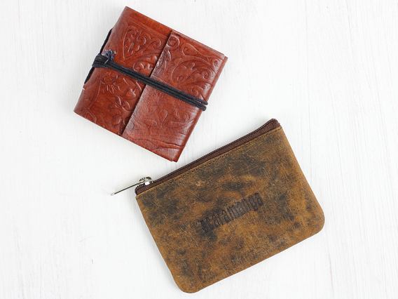Leather Journal And Coin Pouch Set
