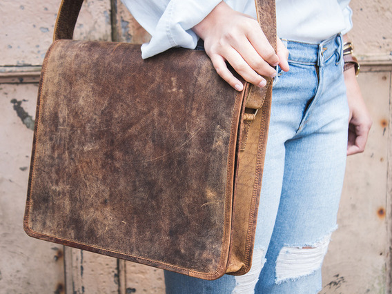 View our Women Leather Messenger Bag Medium 15 Inch from the Women Leather Satchels & Bags collection