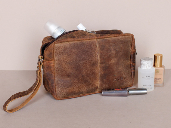 View our  Leather Wash Bag from the   collection