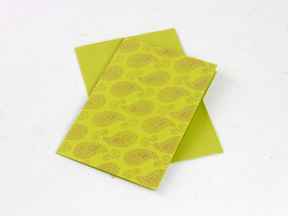 Lime Green Paisley Greeting Card