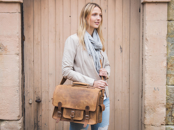 View our Women Medium Overlander Leather Satchel 16 Inch from the Women Leather Weekender Bags collection