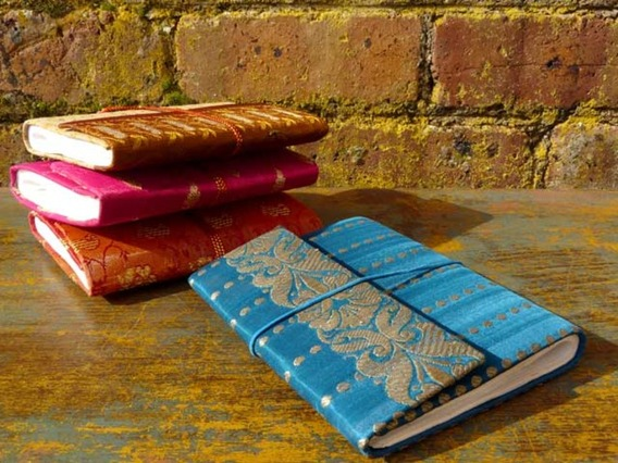 View our  Medium Silky Sari Notebook Blue from the  Journals collection