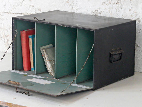 View our  Vintage Metal Deed-Box from the  Old Travel Trunks collection