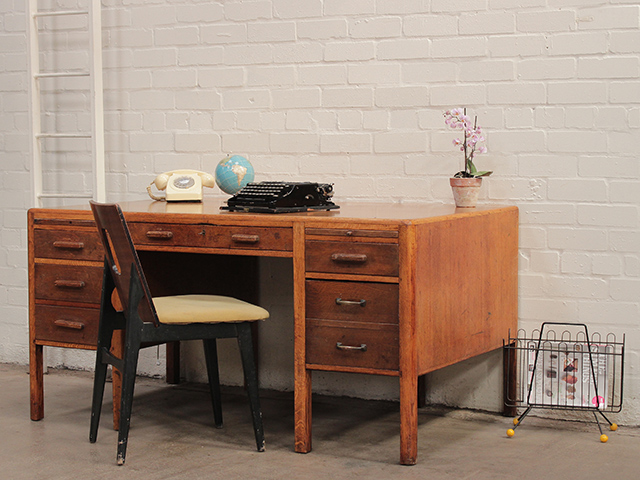 View our  Mid-Century Oak Headmaster's Desk from the   collection