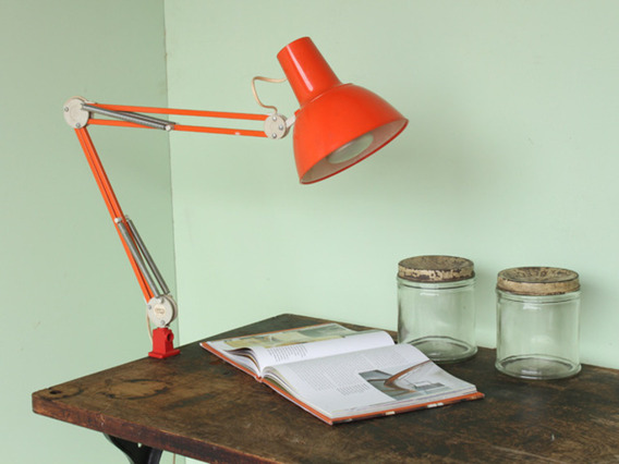 View our  Mid-Century Orange Luxo Swing Arm Industrial Desk Lamp from the   collection