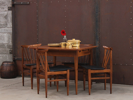 Mid-century Wooden Extending Dining Table And Chairs