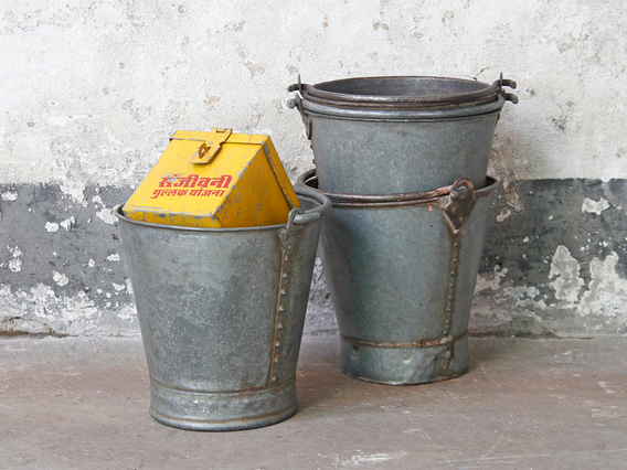 View our  Vintage Metal Bucket - Small from the  Old Travel Trunks collection