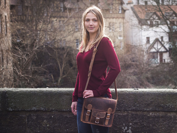 View our Women Mini Leather Satchel With Pocket And Handle 11 Inch from the Women Leather Satchel Bags collection