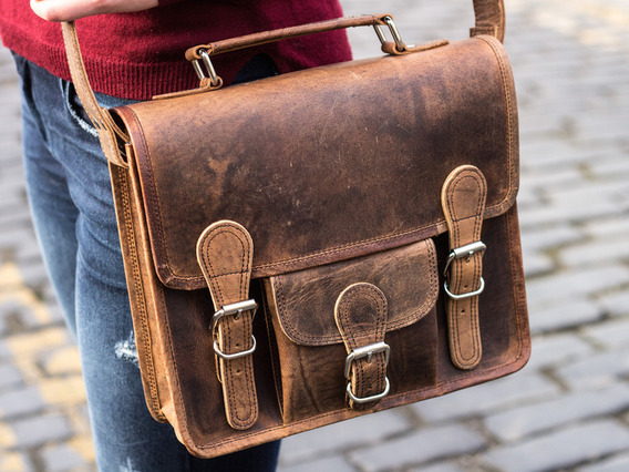 View our  Mini Leather Satchel With Pocket And Handle 11 Inch from the   collection