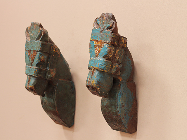 Old Blue Distressed Antique Marwari Horse Heads (Pair)
