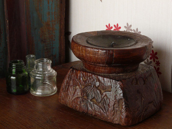 View our  Old Candle Holder 726 from the  Vintage Wooden Pots collection
