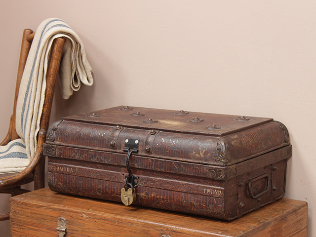 View our  Old Ornate Metal Travel Case With Padlock from the   collection