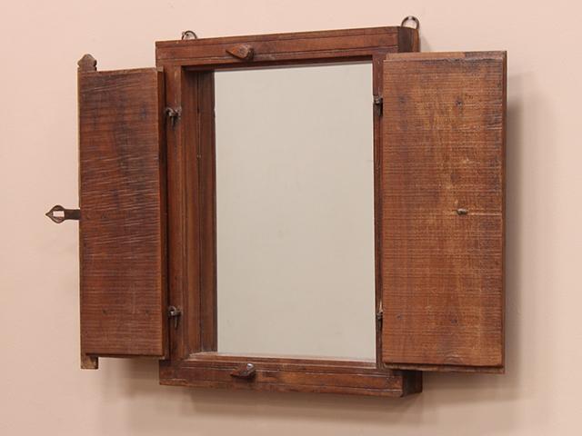 Old Teak Shuttered Window-Frame Mirror