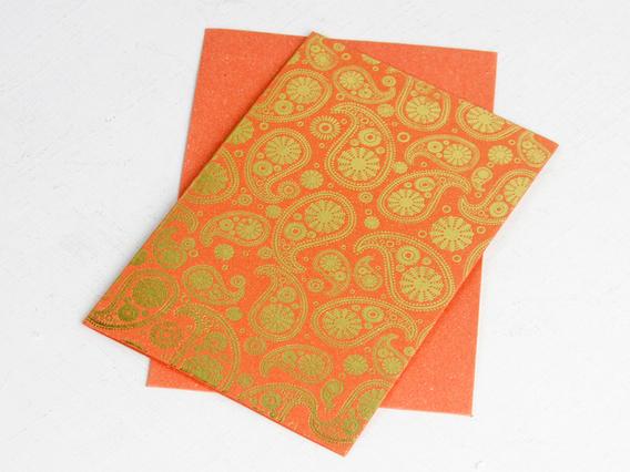 Orange Paisley Printed Card