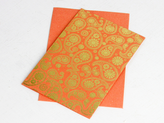 Orange Paisley Printed Card