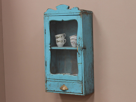 View our  Ornate Vintage Blue Wooden Cabinet from the  Vintage Cabinets & Cupboards collection