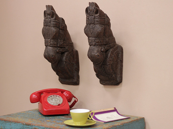 View our  Pair of Antique Teak Marwari Horses Head from the  Vintage & Retro Lighting collection