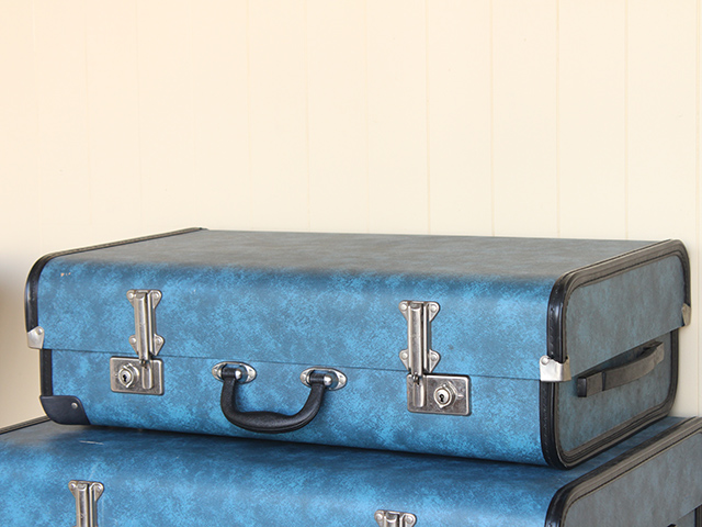 View our  Retro Blue Suitcase from the   collection