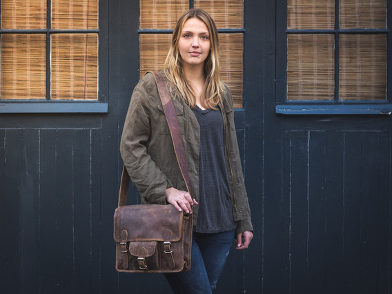 View our Women Small Leather Satchel With Front Pocket 13 Inch from the Women Leather Satchel Bags collection