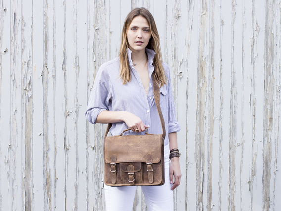 View our  Small Leather Satchel With Front Pocket And Handle 13 Inch  from the  Leather Satchels & Bags collection