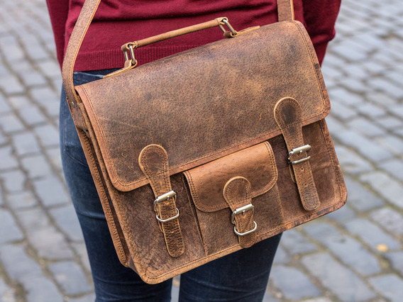 Small Leather Satchel With Front Pocket And Handle 13 Inch