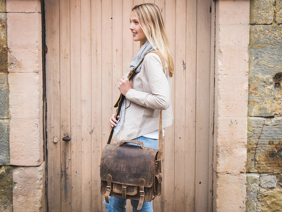 View our Women Small Overlander Leather Bag 14 inch from the Women Leather Satchel Bags collection