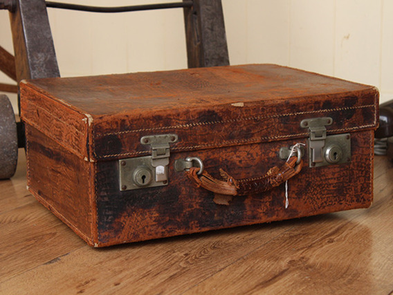 Small Vintage Faux Snake-Skin Suitcase (C)