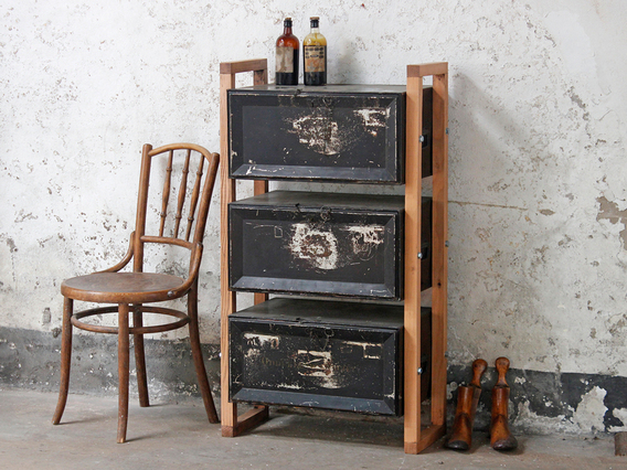 View our  Upcycled Deed-Box Cabinet from the  Old Travel Trunks collection