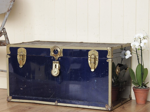 View our  Vintage Blue Metal Traveling Trunk from the   collection