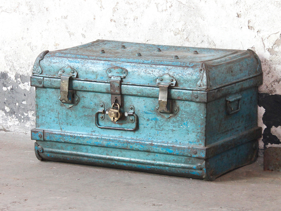 View our  Vintage Blue Metal Trunk from the  Old Travel Trunks collection