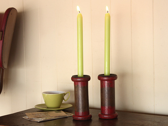 Vintage Bobbin Candle Holder (a pair)